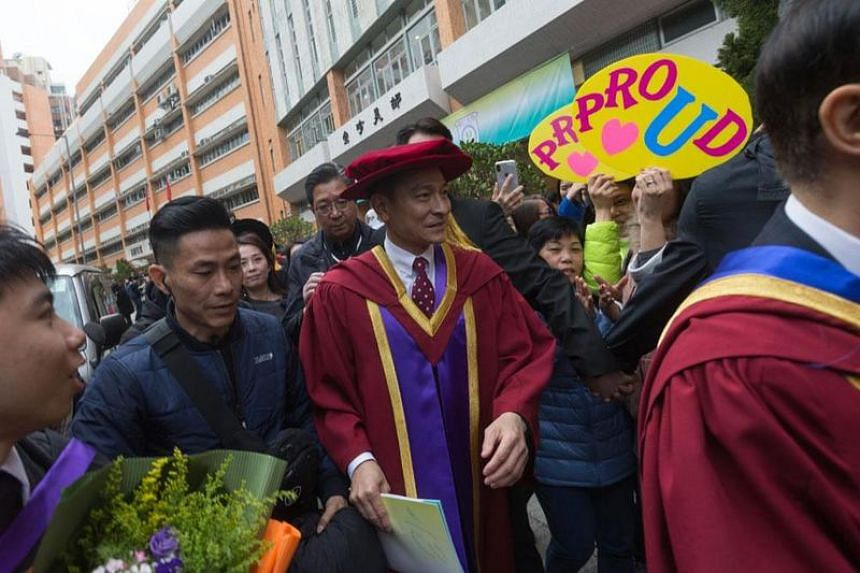 Andy Lau arrives at the Hong Kong Shue Yan University to receive his honorary degree.