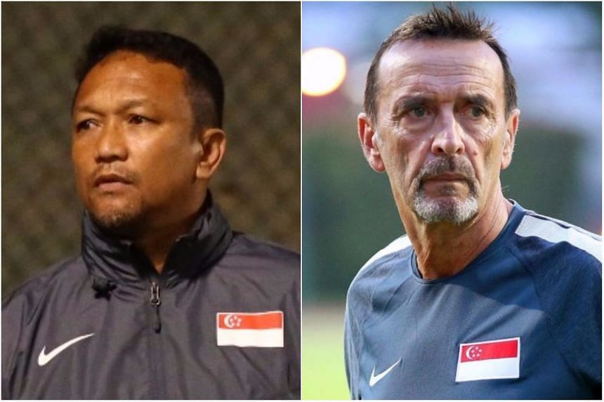 Fandi Ahmad (left) has been tasked to lead the Young Lions out at the 2018 Asian Games and 2019 SEA Games after FAS announced Dec 14 that Richard Tardy will be released early from his contract.