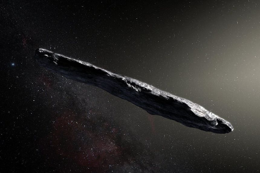 An artist's impression of cigar-shaped Oumuamua, which is from outside our planetary system.