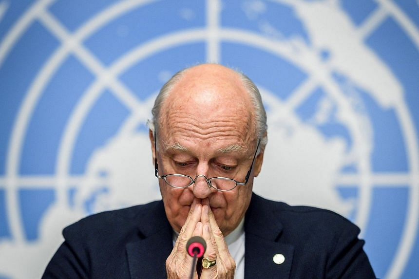 UN Special Envoy for Syria Staffan de Mistura gives a press conference closing a round of Intra Syria peace talks at the European headquarters of the United Nations offices in Geneva, on Dec 14, 2017.