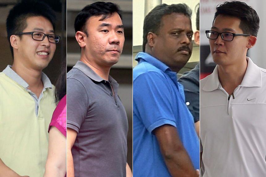 TAC Contracts employees (from left) Justin Heng Lye Chai, James Tan Gin Meng, Alagappan Suriyanarayanan and Ng Kok Thai have been jailed for giving kickbacks.