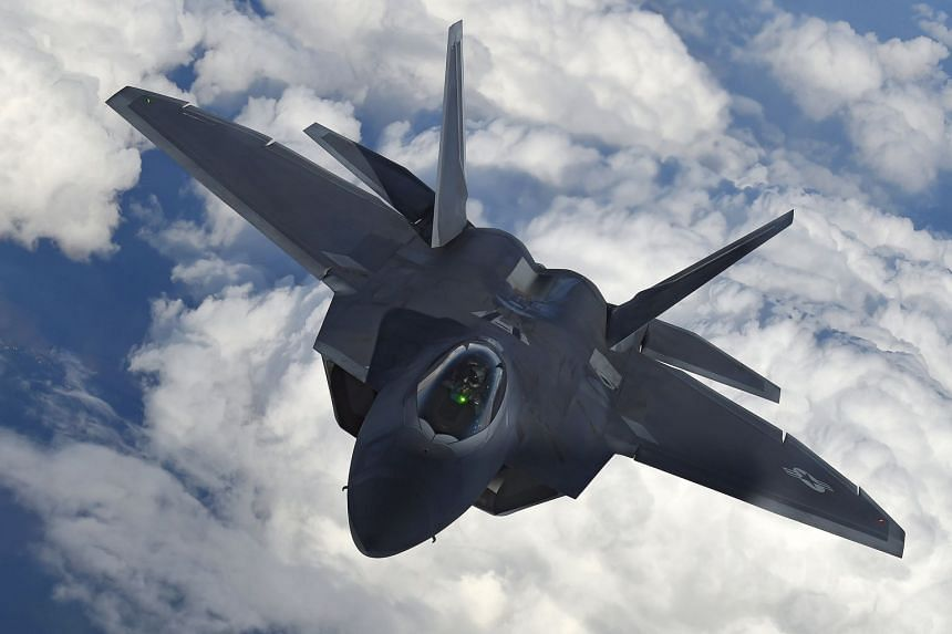 A US F-22 Raptor fighter flying over European airspace in a 2016 photo.