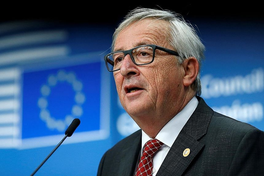 European Commission President Jean-Claude Juncker at a summit news conference yesterday.