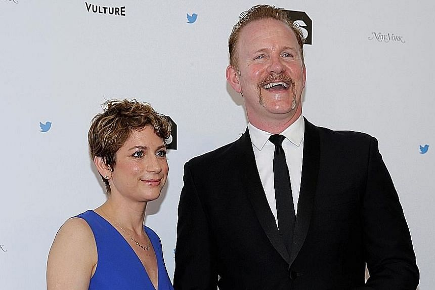 Film-maker Morgan Spurlock and his wife, Ms Sara Bernstein, at the Not The White House Correspondents' Dinner in Washington, in April this year.