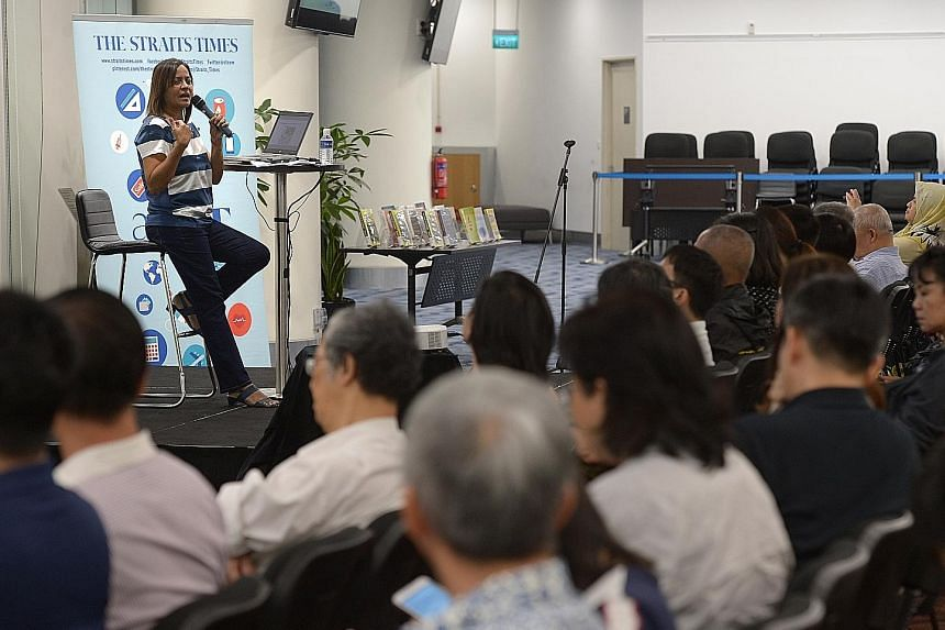 """Ms Sandra Davie spoke on the topic: """"Do you need a degree to succeed in life?"""" at the National Library last night. It was the sixth talk in the askST@NLB series, a collaboration between The Straits Times and the National Library Board."""