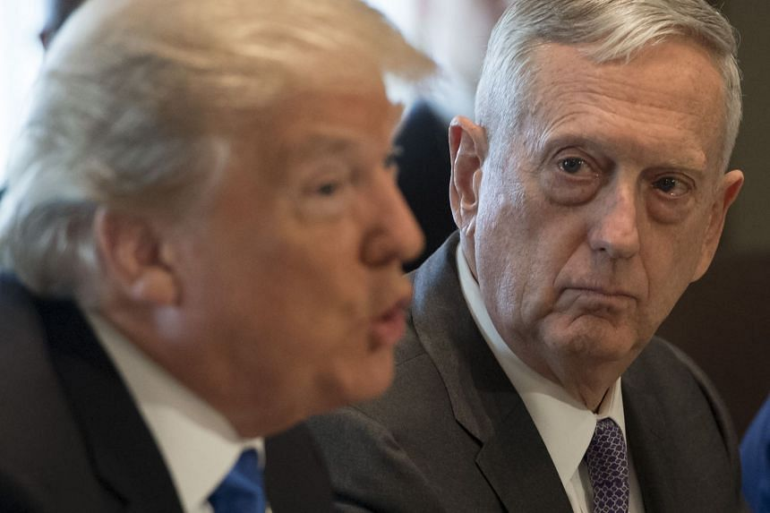 Mattis (right) alongside US President Donald Trump during a Cabinet meeting at the White House, Dec 6, 2017.