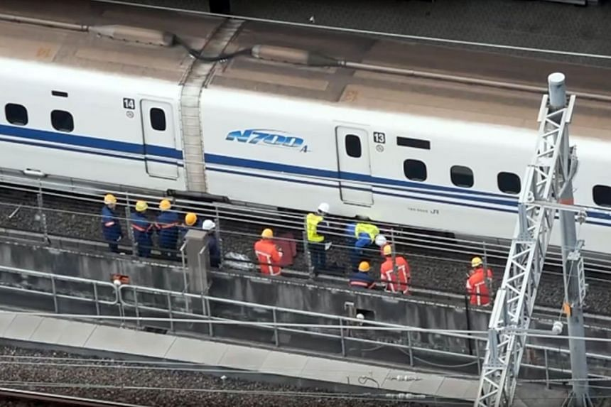 A Japanese bullet train, seen here in Nagoya station, was on Monday pulled from service following the discovery of a crack and an oil leak.