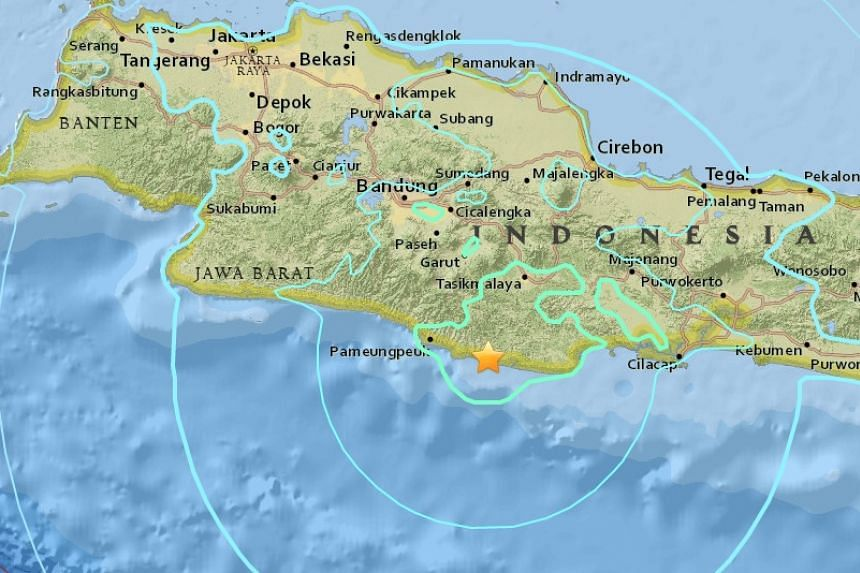 The tremor was measured at a depth of 92km and struck less than 1km east-southeast of Cipatujah.