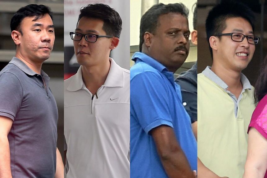 From left: James Tan Gin Meng and Ng Kok Thai were each jailed for 46 weeks; Alagappan Suriyanarayanan was jailed for 20 weeks; and Justin Heng Lye Chai was jailed for 19 weeks. To date, 11 of the 12 sales staff have been dealt with in court. The fir