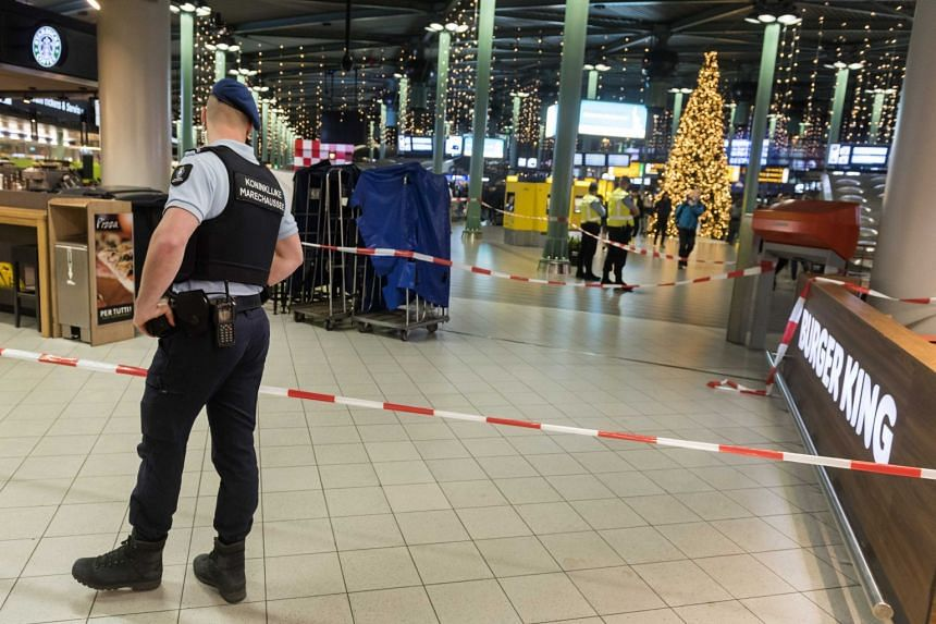 A view inside Schiphol Airport after a man wielding a knife was shot by military police.