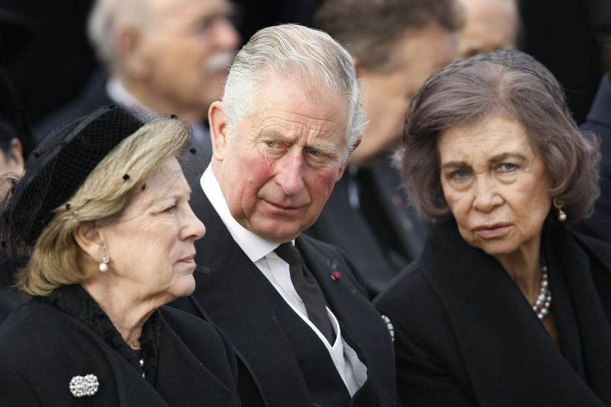 Queen Ann-Marie of Greece (left), Britain's Prince Charles of Wales (centre) and Queen Sofia of Spain attend the funeral ceremony of late King Michael I of Romania.