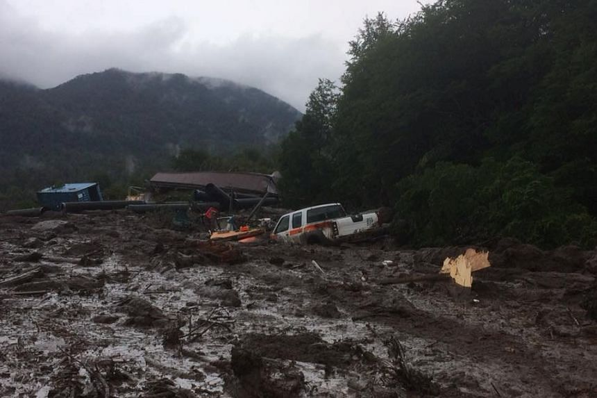 Damage done by a landslide is seen in Villa Santa Lucia, Los Lagos, Chile, in a social media photo.