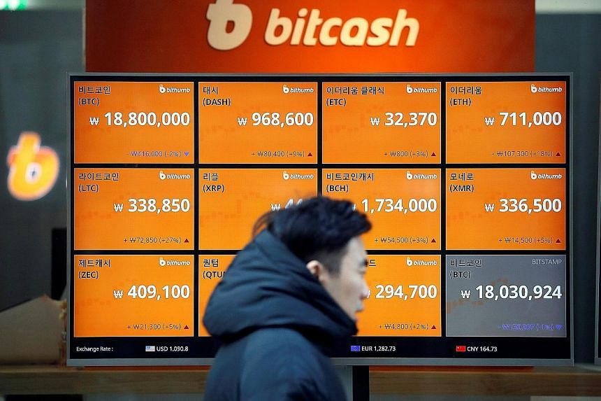 The exchange rates of various cryptocurrencies, including bitcoin, seen at a cryptocurrency exchange in Seoul, South Korea, last week. The surge in bitcoin's value by more than 1,000 per cent this year has many excited.