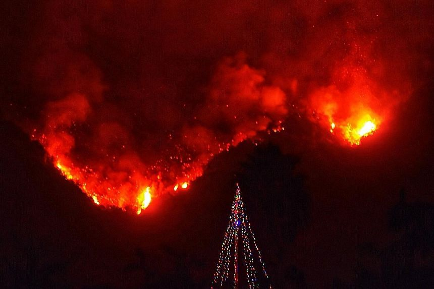 Wildfires burning in Carpinteria, California. There is no sign that the fires will stop before Christmas, but there's every sign that things cannot continue as usual amid a rapidly changing climate. Lending to the oil and gas industry has become the