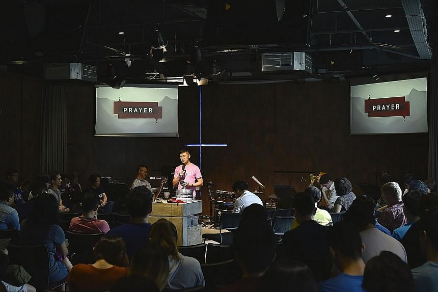 A worship session at Free Community Church last month. The only church in Singapore to openly welcome gays now has a membership of about 130, a mix of LGBT and straight people.