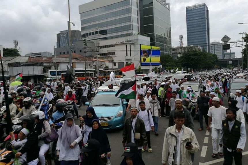 Another road leading to the protest site at the National Monument in central Jakarta.