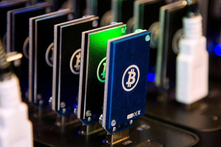 A chain of block erupters used for Bitcoin mining.