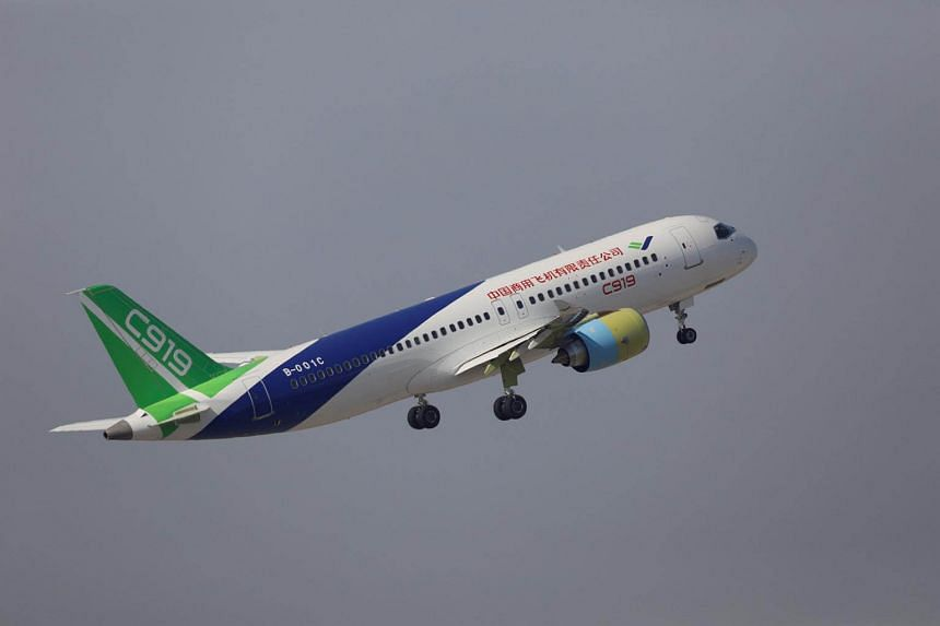 The second prototype of China's home-built C919 passenger jet takes off for a test flight in Shanghai, on Dec 17, 2017.