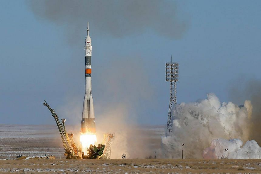 The Soyuz MS-07 spacecraft blasts off to the International Space Station from the launchpad at the Baikonur cosmodrome in Kazakhstan on Dec 17, 2017.