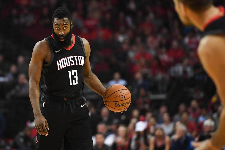 Houston Rockets guard James Harden reacts during the first quarter against the New Orleans Pelicans at the Toyota Center, on Dec 11, 2017.