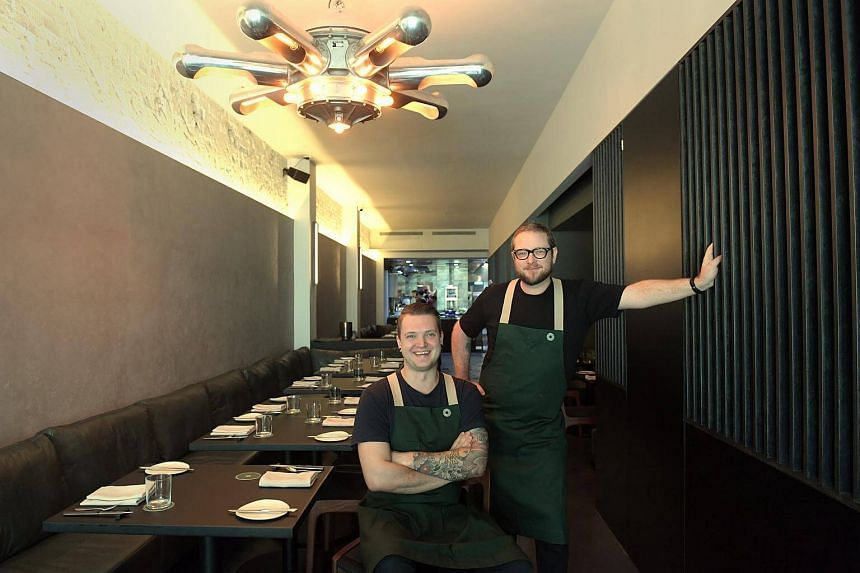 Australian chef-owner Clayton Wells (standing, with Dutch chef Joeri Timmermans) of Blackwattle, which serves dishes with odd combinations of ingredients and flavours that work.