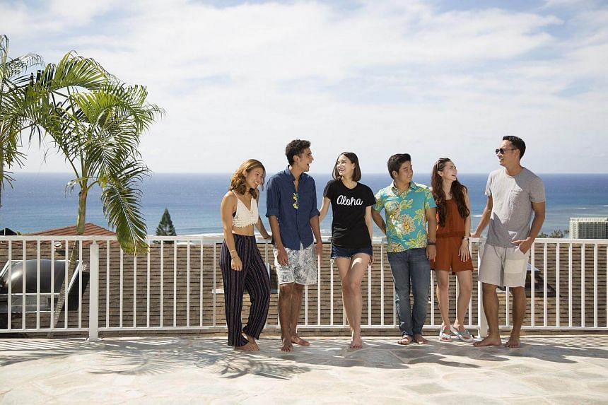 Japanese reality show Terrace House: Aloha State stars (from far left) aspiring swimwear designer Avian Ku, aspiring actor Yuya Shibusawa, model Lauren Tsai, musician Yusuke Aizawa, tourist Naomi Lorraine Frank and carpenter Eric De Mendonca.
