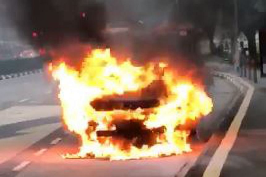 The car caught fire at the junction of Serangoon North Avenue 5 and Yio Chu Kang Road, moments after the driver stepped out of his vehicle.