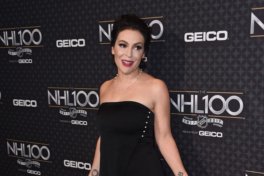 Alyssa Milano at the NHL 100 gala in Los Angeles in January.