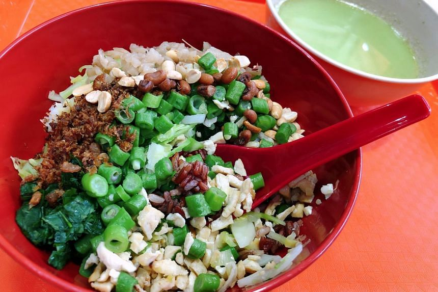 The Traditional Hakka Rice stall serves Thunder Tea Rice with red cargo rice for $4.
