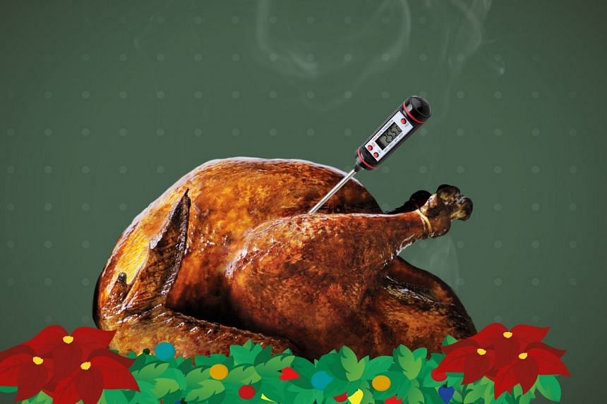 Turkeys are difficult to cook because being big and round, it takes longer for heat to travel to the centre of the bird.