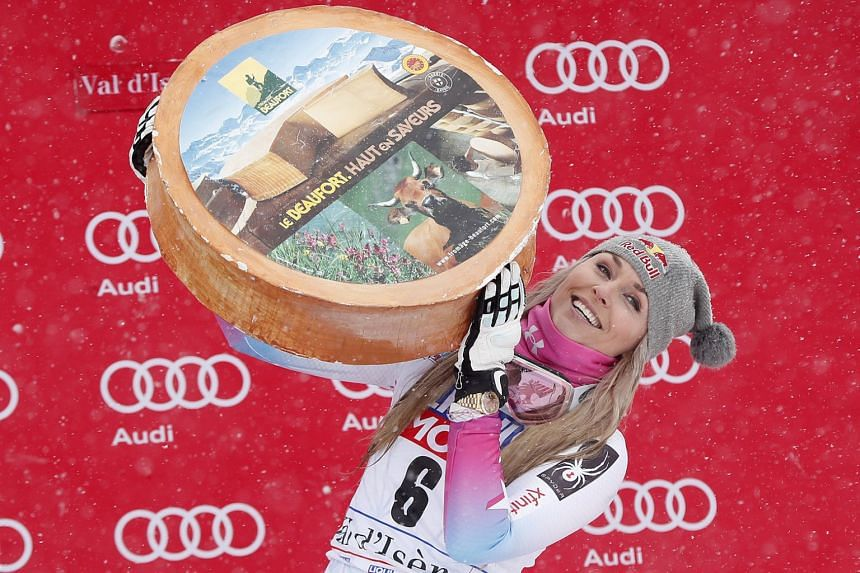 American Lindsey Vonn celebrates after winning the Women's Super G race at the FIS Alpine Skiing World Cup in Val D'Isere, France, on Dec 16, 2017.