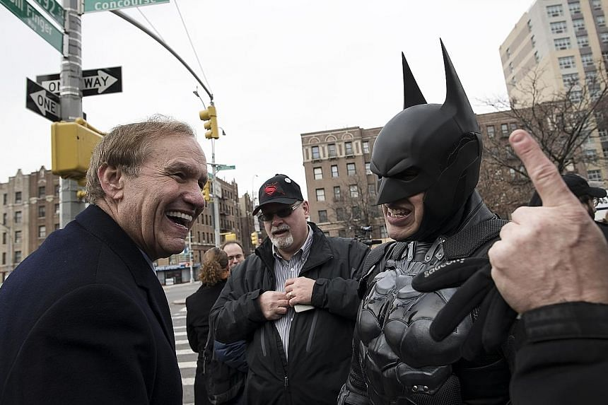 (From left) Mr Steven Simmon, stepson of Bill Finger, Mr Chris Rosendahl and Mr Al Vasquez, known as Batsquez, at a street-naming ceremony honouring writer Bill Finger.