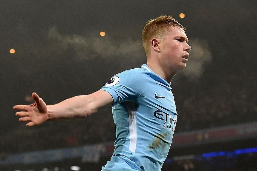Kevin de Bruyne after scoring Manchester City's second goal against Tottenham. He had a hand in the third goal, as the team consolidated their lead in the standings.
