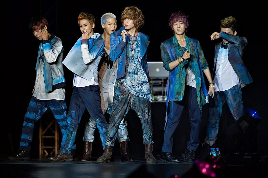 Members of ingenue Korean boy band Teen Top at the Boyz Nite Out concert at the Singapore Indoor Stadium on June 15, 2012.