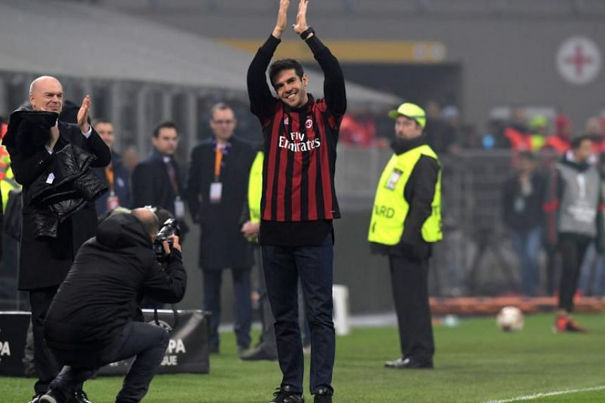 Former AC Milan's player Kaka greets fans during the UEFA Europa League group D football match between AC Milan and FK Austria-Wiendur at the San Siro stadium in Milan on Nov 23, 2017.