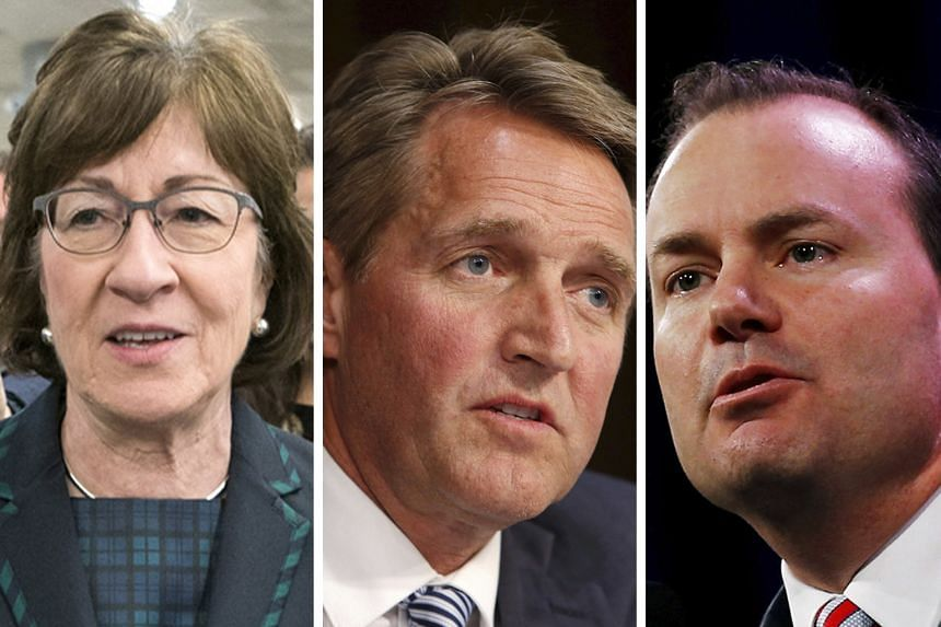 Three Republican senators, enough to defeat the measure in a Senate that Mr Trump's party controls with a slim 52-48 majority, remain uncommitted: (from top) Ms Susan Collins, Mr Jeff Flake and Mr Mike Lee.