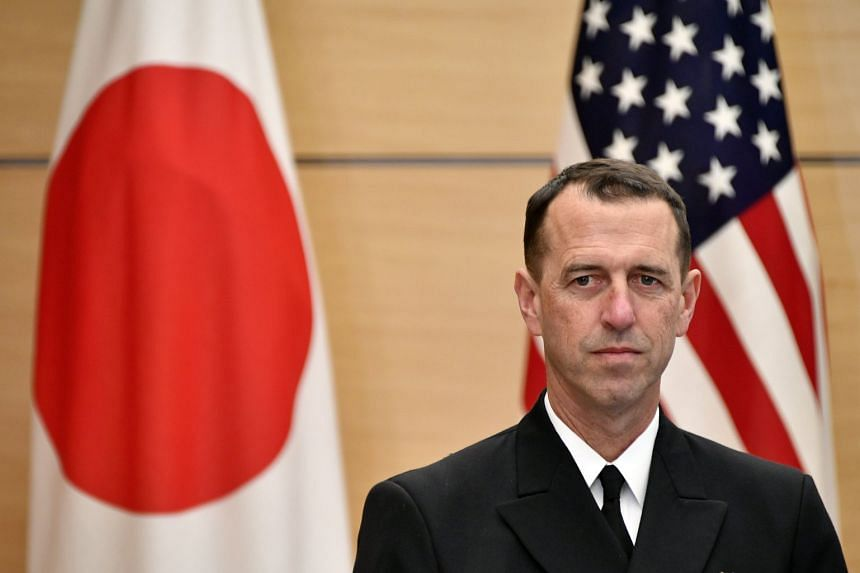 Chief of US Naval Operations Admiral John Richardson at the Prime Minister's official residence in Tokyo, Japan, on Dec 18.