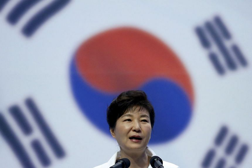 A file photo of Park Geun Hye speaking at a Liberation Day ceremony in Seoul, on Aug 15, 2015.