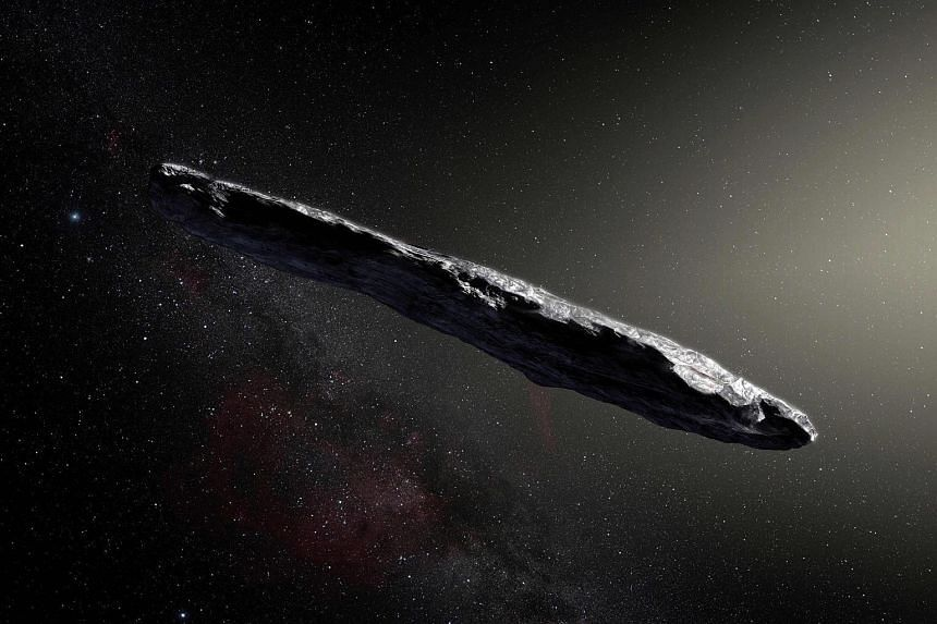 An artist's impression of the first interstellar asteroid, Oumuamua.