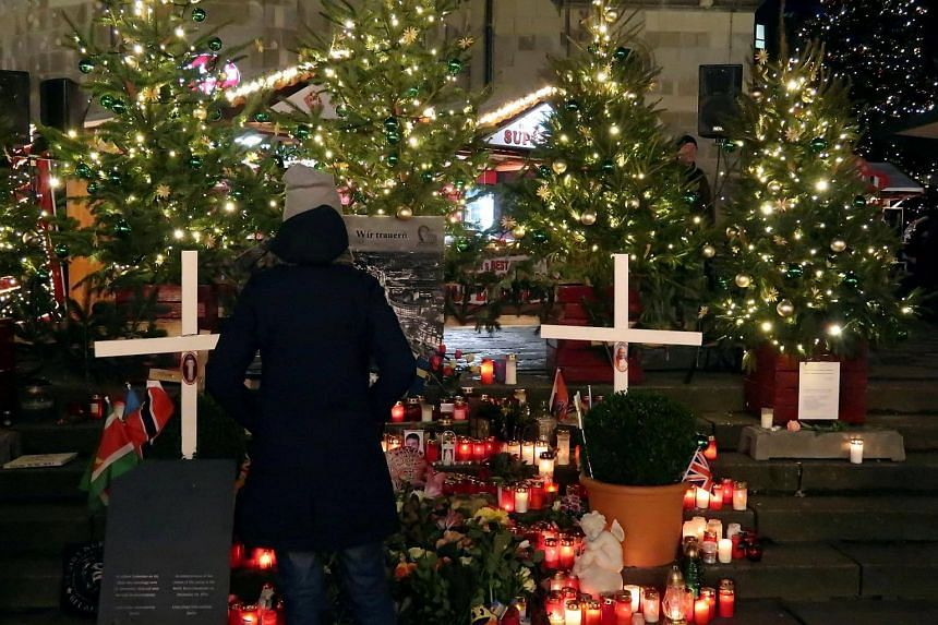 A memorial was set up at the Breitscheidplatz Christmas market on the eve of the one-year anniversary of the 2016 truck attack, on Dec 18, 2017.