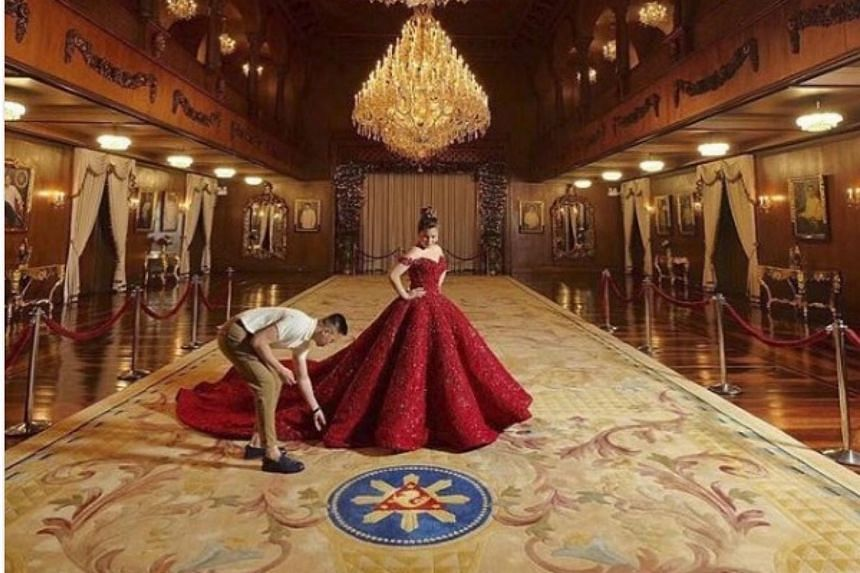 Photos posted on Instagram showed Isabelle Duterte posing inside the Palace and on its grounds in different gowns, including a voluminous, off-shoulder red one by Dubai-based designer Garimon Roferos.