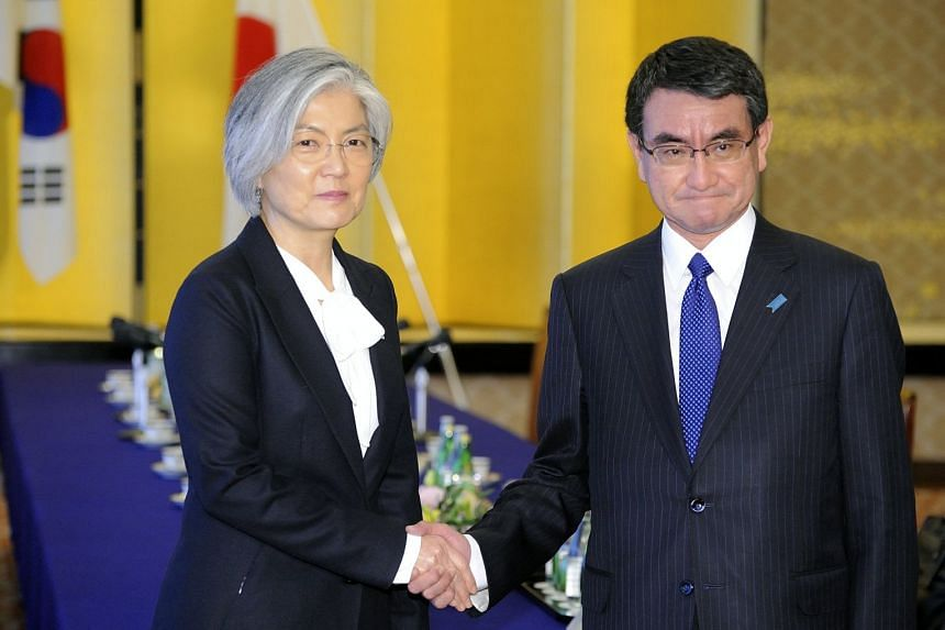 South Korean Foreign Minister Kang Kyung Wha (left) meeting Japanese counterpart Taro Kono in Tokyo, during which the two ministers agreed on the need to put pressure firmly on North Korea.