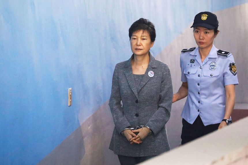 Former South Korean president Park Geun Hye arriving at the court in Seoul on Aug 25, 2017.