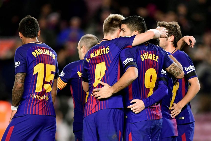 Barcelona had previously signed a club record shirt sponsorship deal worth a minimum of 220 million euros (S$350 million) over four years with Japanese online retailer Rakuten.