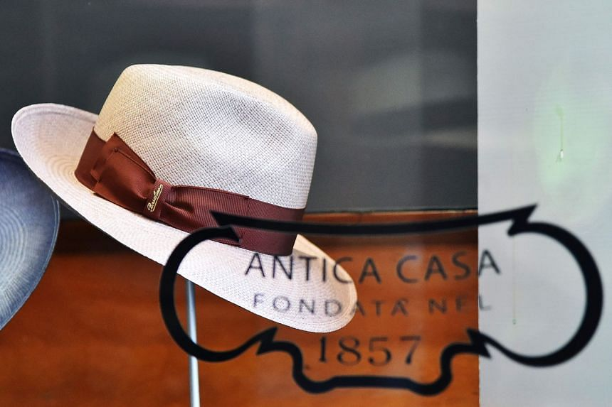 A hat in a Borsalino flagship store in Florence.