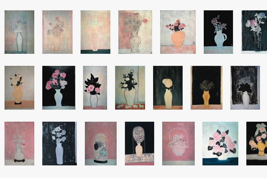 Some still-lifes of Chinese artist Sanyu. An oil painting of a pot of flowers set a new European record for Sanyu.