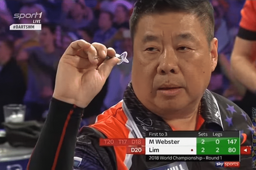 Singaporean darts player Paul Lim stunned former world champion Mark Webster 3-2 in the first round of the Professional Darts Corporation (PDC) World Championship on Dec 19, 2017.