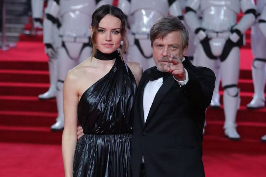 Stars Daisy Ridley and Mark Hamill at the European Premiere of Star Wars: The Last Jedi at the Royal Albert Hall in London.