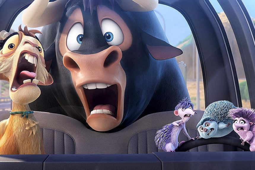 The visual and verbal humour in Ferdinand is cartoonish.