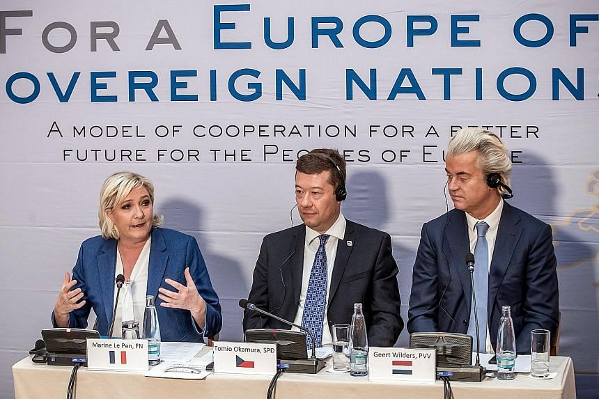 Far-right leaders (from left) Marine Le Pen of France, Tomio Okamura of the Czech Republic and Geert Wilders of the Netherlands at a press conference in Prague last Saturday.